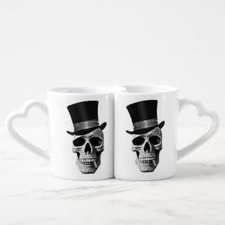 Top hat skull coffee mug set