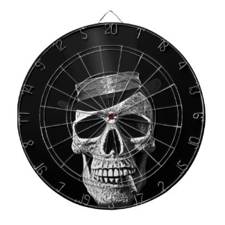 Top hat skull dartboard with darts