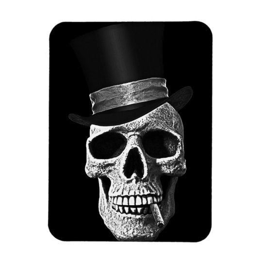 Top hat skull magnet