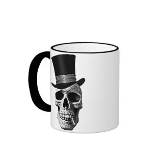 Top hat skull taza a dos colores