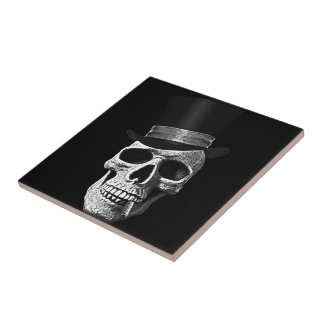 Top hat skull small square tile