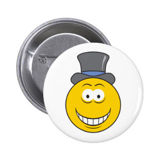 Top Hat Smiley Face 2 Inch Round Button