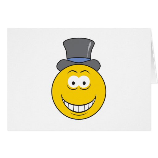Top Hat Smiley Face Greeting Card