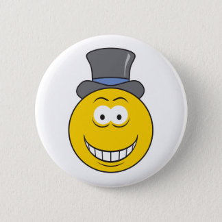 Top Hat Smiley Face Pinback Button