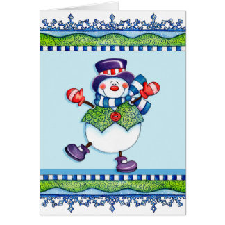 Top Hat Snowman - Greeting Card