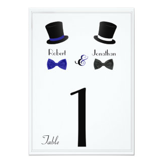 Top Hats and Bow Tie Blue Gay Wedding Table Number 5x7 Paper Invitation Card