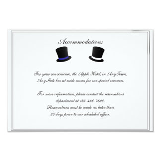 Top Hats and Bow Ties Blue Gay Wedding Insert 3.5x5 Paper Invitation Card