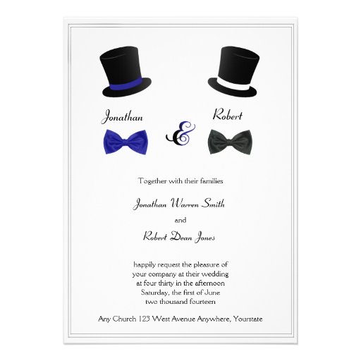 Top Hats and Bow Ties Blue Gay Wedding Invitation