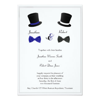 "Top Hats and Bow Ties Blue Gay Wedding Invitation 5"" X 7"" Invitation Card"