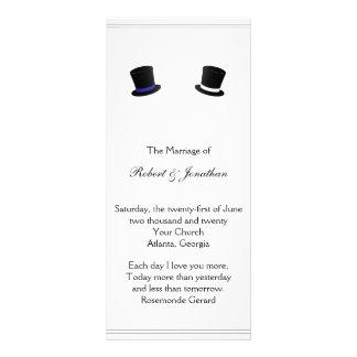 Top Hats and Bow Ties Blue Gay Wedding Program Rack Card Design