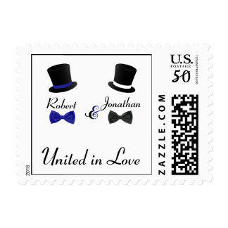 Top Hats and Bow Ties Blue Gay Wedding Stamp