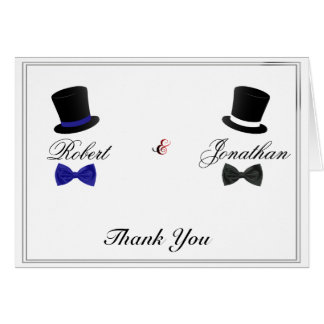 Top Hats and Bow Ties Blue Gay Wedding Thank You Stationery Note Card