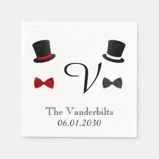 Top Hats and Bow Ties Gay Monogram Wedding Paper Napkin