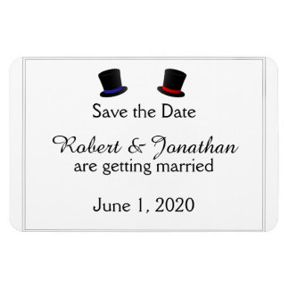 Top Hats and Bow Ties Gay Red Blue Save the Date Magnet