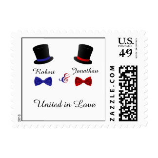 Top Hats and Bow Ties Gay Red Blue Wedding Stamp