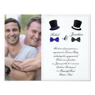 Top Hats and Bow Ties Gay Wedding Engagement Card