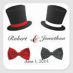 Top Hats and Bow Ties Gay Wedding Envelope Seal Square Sticker