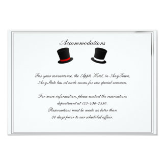 "Top Hats and Bow Ties Gay Wedding Insert 3.5"" X 5"" Invitation Card"