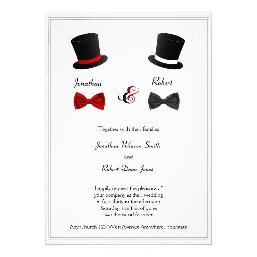 Top Hats and Bow Ties Gay Wedding Invitation