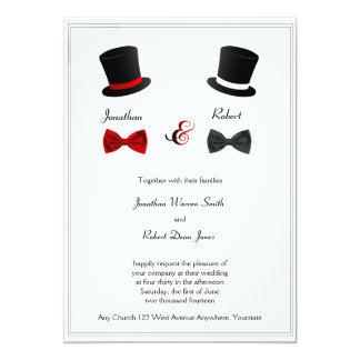 "Top Hats and Bow Ties Gay Wedding Invitation 5"" X 7"" Invitation Card"