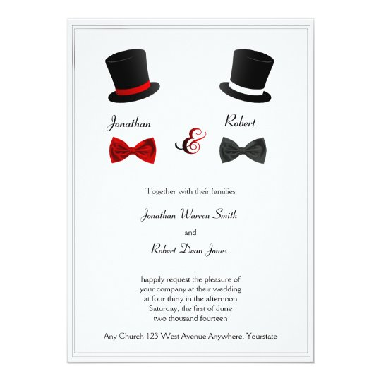 Awesome Top Hats And Bow Ties Gay Wedding Invitation
