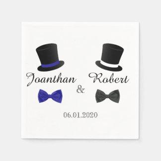 Top Hats and Bow Ties Gay Wedding Napkin