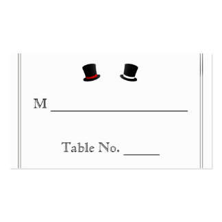 Top Hats and Bow Ties Gay Wedding Place Cards Business Card