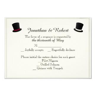 Top Hats and Bow Ties Gay Wedding Response Card