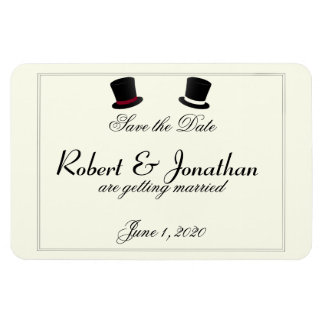 Top Hats and Bow Ties Gay Wedding Save the Date Magnet