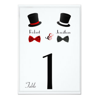 "Top Hats and Bow Ties Gay Wedding Table Number 3.5"" X 5"" Invitation Card"