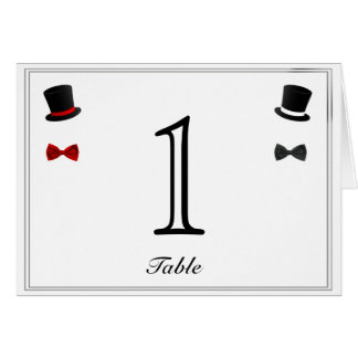 Top Hats and Bow Ties Gay Wedding Table Number Stationery Note Card