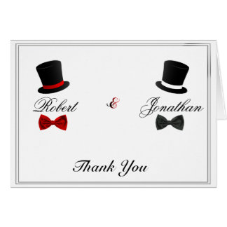 Top Hats and Bow Ties Gay Wedding Thank You Stationery Note Card