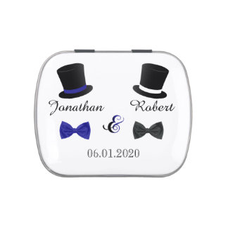 Top Hats and Bow Ties Gay Wedding Tins Candy Tins