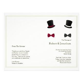 Top Hats and Bow Ties Wedding Program