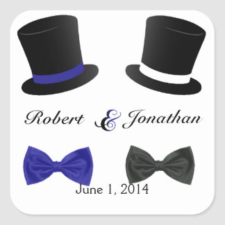 Top Hats Bow Ties Blue Gay Wedding Envelope Seal Square Sticker
