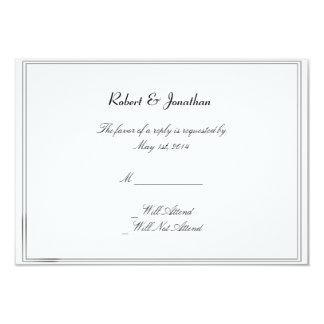 Top Hats Bow Ties Blue Gay Wedding Response Card