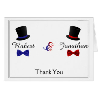 Top Hats Bow Ties Gay Red Blue Wedding Thank You Card