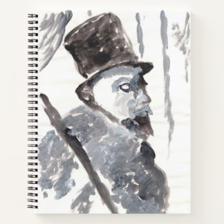 Top-hatted gentleman in black and gray spiral notebook