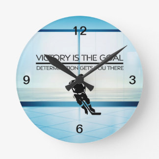 TOP Hockey Victory Slogan Round Clock
