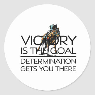 TOP Horse Race Victory Slogan Classic Round Sticker