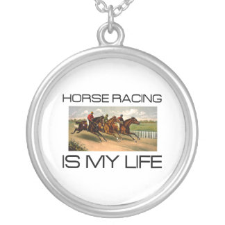 TOP Horse Racing Is My Life Round Pendant Necklace