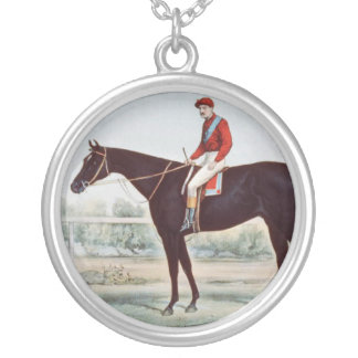 TOP Horse Racing Winner's Circle Silver Plated Necklace