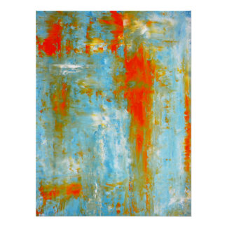 'Top it Off' Teal and Orange Abstract Art Poster
