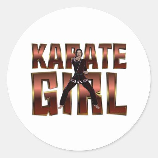 TOP Karate Girl Round Sticker