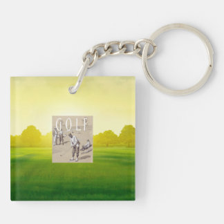 TOP Links Golf Double-Sided Square Acrylic Keychain