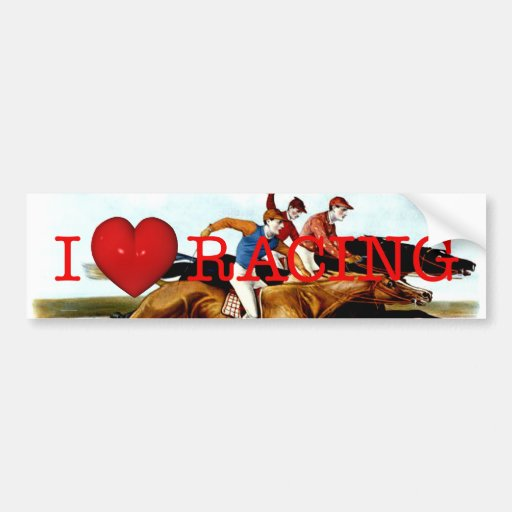 TOP Love Horse Racing Car Bumper Sticker