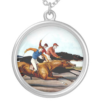 TOP Love Horse Racing Round Pendant Necklace