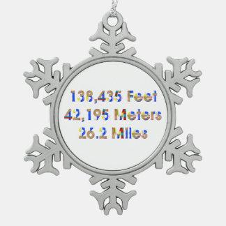 TOP Marathon Numbers Snowflake Pewter Christmas Ornament