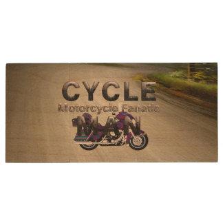 TOP Motorcycle Man Wood Flash Drive