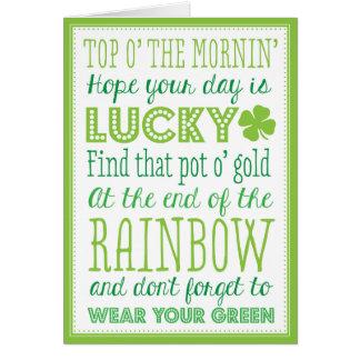 Top O' The Mornin' Greeting Card